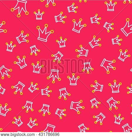 Line Joker Playing Card Icon Isolated Seamless Pattern On Red Background. Jester Hat With Bells. Cas