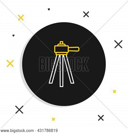 Line Tripod Icon Isolated On White Background. Colorful Outline Concept. Vector