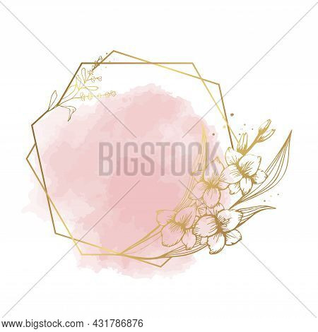 Hand Drawn Gold Gladiolus Flower Frame And Dust In Cute Doodle Style On Watercolor. Luxury Vector Ll