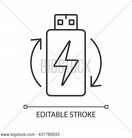 Rechargeable Lithium Ion Battery Linear Manual Label Icon. Thin Line Customizable Illustration. Cont