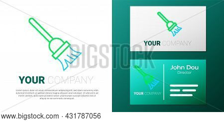 Line Mop Icon Isolated On White Background. Cleaning Service Concept. Colorful Outline Concept. Vect