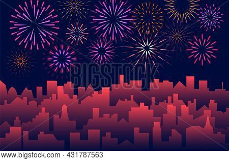 Urban Background With Celebrated Festive Firecracker Over Town. Night Cityscape With Fireworks. Even