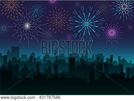 Evening Landscape With Bright Fireworks. Night City Skyline With Salute. Festive Firecrackers Over T