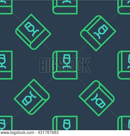 Line Book About Wine Icon Isolated Seamless Pattern On Blue Background. Wine Glass Icon. Wineglass S