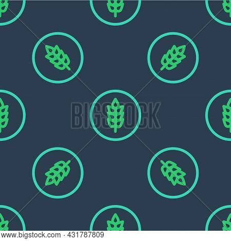 Line Cereals Set With Rice, Wheat, Corn, Oats, Rye, Barley Icon Isolated Seamless Pattern On Blue Ba