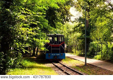 Kyiv, Ukraine-august 22, 2021: Close-up View Of The Children's Train On The Track In Park,  Beautifu