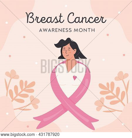 Breast Cancer Awareness Month. Flat Style Woman With Pink Ribbon. Vector Square Banner Or Card With