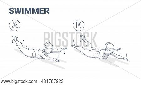 Swimmers Exercise Girl Fitness Home Workout Guidance Illustration. Lying Back Woman Exercise.