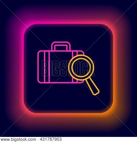 Glowing Neon Line Airline Service Of Finding Lost Baggage Icon Isolated On Black Background. Search