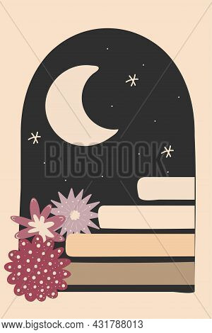 Old Ancient Stairs, Flowers And Moon Night. Aesthetic Contemporary Art. Boho Print. Flat Vector Illu
