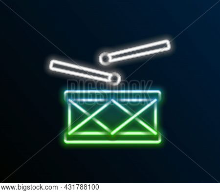 Glowing Neon Line Drum With Drum Sticks Icon Isolated On Black Background. Music Sign. Musical Instr