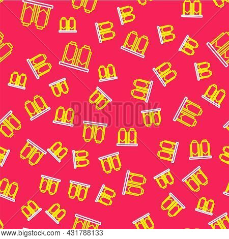Line Traditional Brewing Vessels In Brewery Icon Isolated Seamless Pattern On Red Background. Beer B