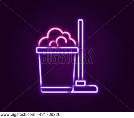 Glowing Neon Line Mop And Bucket Icon Isolated On Black Background. Cleaning Service Concept. Colorf