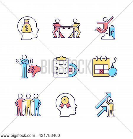 Motivation Stimulus Rgb Color Icons Set. Money Reward. Desire To Win. Positive Dynamics. Team Member