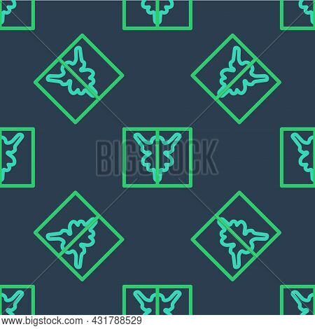 Line Rorschach Test Icon Isolated Seamless Pattern On Blue Background. Psycho Diagnostic Inkblot Tes