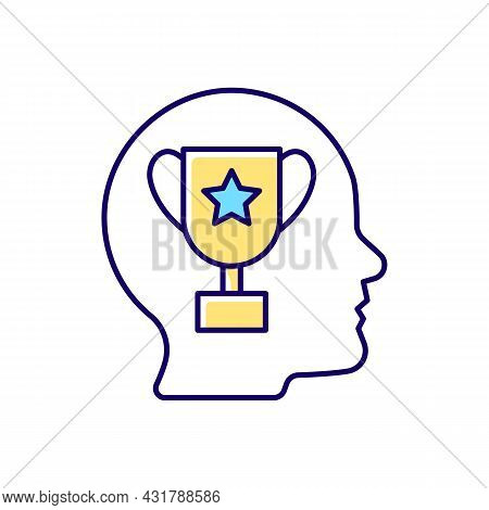 Achievement Motivation Rgb Color Icon. Person Need To Succeed At Something. Desire To Reach Goal. Fo