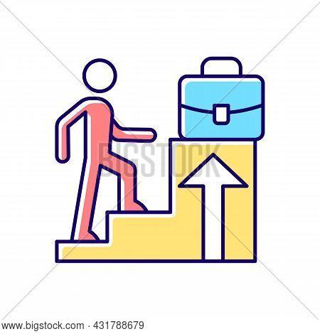 Promotion Rgb Color Icon. Career Raise As Motivation. Better Employee Performance. Worker Advancemen