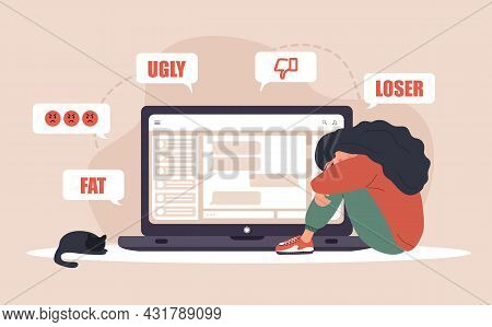 Cyber Bullying. Sad Woman With Laptop Receiving Pop Up Messages. Online Abuse Concept. Teenager Sitt