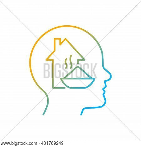 Physiological Motivation Gradient Linear Vector Icon. Satisfy Basic Human Needs. Physical And Mental