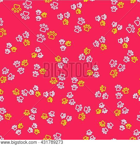 Line Paw Print Icon Isolated Seamless Pattern On Red Background. Dog Or Cat Paw Print. Animal Track.