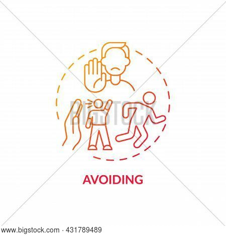 Avoiding Red Gradient Concept Icon. Ignoring Problems With Communication. Conflict Management Strate