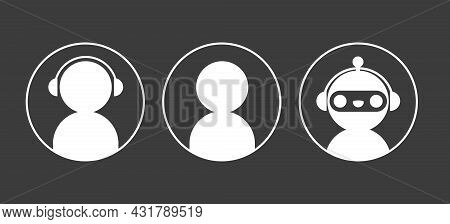 Chat Bot Robot And User Icons In Circle Set. Elements For Design Online Support Service Dialogue Win