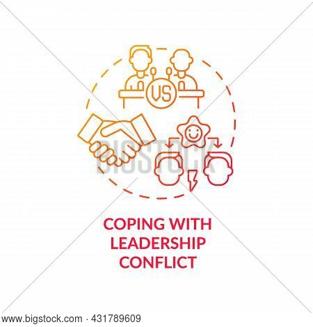 Coping With Leadership Conflict Red Gradient Concept Icon. Competing Leaders. Conflict Management Ab