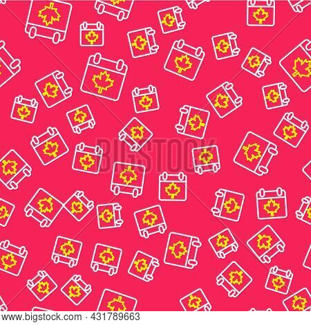 Line Canada Day With Maple Leaf Icon Isolated Seamless Pattern On Red Background. 1-th Of July Indep