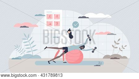 Medical Exercise And Physiotherapy As Recovery Fitness Tiny Person Concept. Rehabilitation After Inj