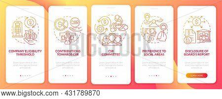 Csr Basics Red Gradient Onboarding Mobile App Page Screen. Company Liability Walkthrough 5 Steps Gra