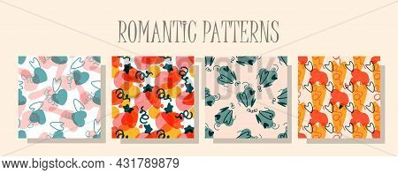 Romantic Love Pattern. A Set Of Patterns In The Same Style. Valentines Day Digital Paper. Childrens