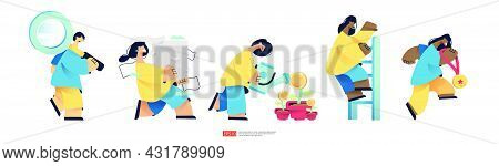 People Presentation Set. Character Bring Magnifying Glass. Carrying Pile Stacks Of Documents. Growin