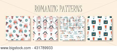 Romantic Love Pattern. A Set Of Patterns In The Same Style. Valentine's Day Digital Paper. Children'
