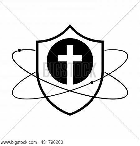 Shield With Christian Cross Icon. Linear Shield Icon. Christian Church Logo Design. Vector Illustrat