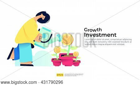 Growing Investment Business With People Character Watering The Money Coin Plant On Pot. Wealth And I