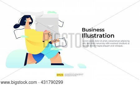 Hurry Run Female Character Carrying Pile Stacks Of Documents. Vector Illustration Concept For Bureau