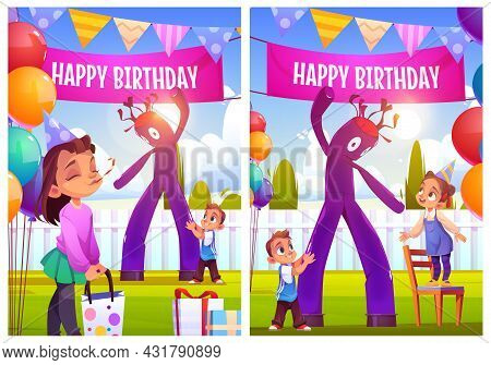 Happy Birthday Celebration Cartoon Posters Or Greeting Cards. Girl Celebrate Party With Friends On H