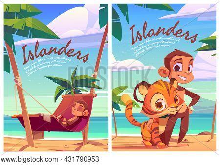 Islanders Cartoon Posters With Monkey And Tiger Cub Funny Wild Animals, Island Inhabitants Predator