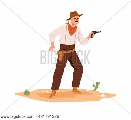 Wild West Cowboy Standing With Handgun. Western Outlaw Man Shooting With Pistol. Angry American Gang