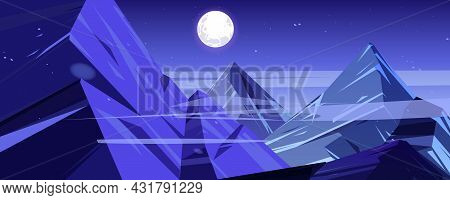 Night Mountains Peaks Twilight Landscape, Scenery View With High Rocks And Full Moon With Stars Glow