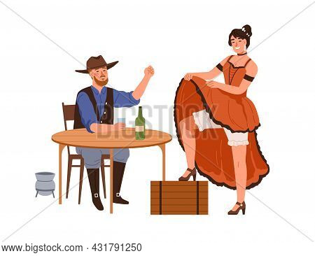 Western Woman Dancer In Dress Dancing For Happy Drunk Cowboy In Bar. Man In Hat Drinking Alcohol At