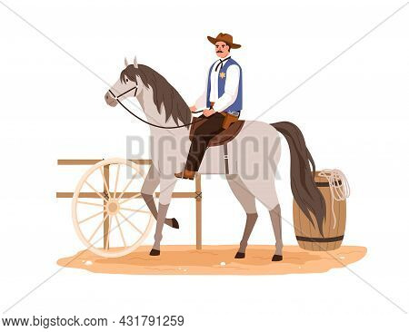 Western Cowboy In Hat Sitting Horseback And Riding. Wild West Horseman On Horse Back. American Rodeo