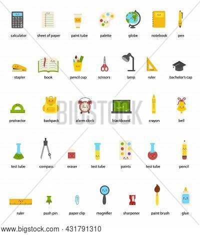 Set Of Cute Kawaii School Supplies With Names. Back To School Illustrations.