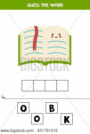 Spell The Word Book. Vector Illustration Of Green Book. Spelling Game For Kids.