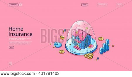 Home Insurance Banner. Concept Of Real Estate Finance Safety, Property Guarantee. Vector Landing Pag
