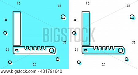 Black Line Corner Ruler Icon Isolated On Green And White Background. Setsquare, Angle Ruler, Carpent