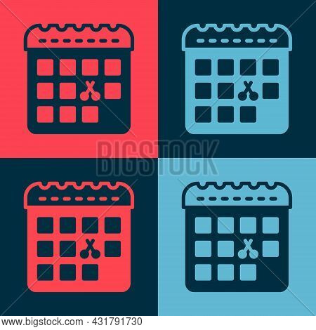 Pop Art Calendar With Haircut Day Icon Isolated On Color Background. Haircut Appointment Concept. Ve