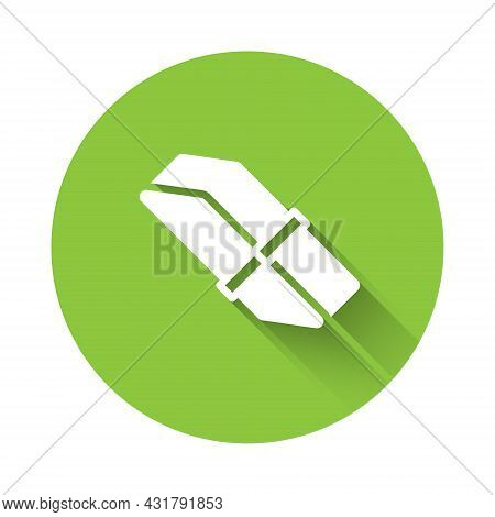 White Eraser Or Rubber Icon Isolated With Long Shadow. Green Circle Button. Vector