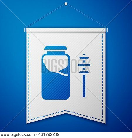 Blue Jar Of Honey And Honey Dipper Stick Icon Isolated On Blue Background. Food Bank. Sweet Natural