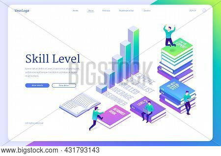 Skill Level Isometric Landing Page. Tiny Characters Sitting On Huge Books Reading And Studying, Upgr